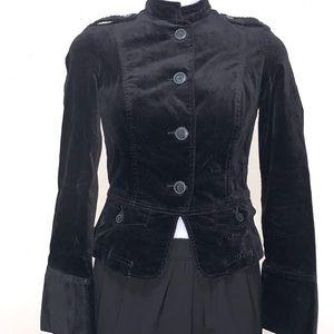 Tommy Jeans Black Velvet Military Style Blazer SM